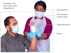 key changes to first aid - personal protective equipment to be worn